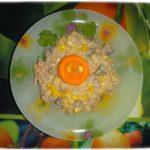 Салат «Пятачок»с печенью. Куриная печень и корейская морковка