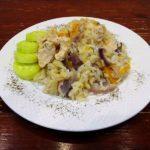 Рис с курицей и овощами в фольге