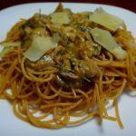 Шампиньоны в сливочном соусе со спагетти