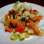 Тёплый салат с курицей и помидорами