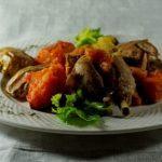 Кура с корицей и овощами запеченными в духовке