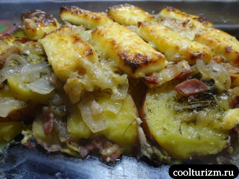 Картошка с беконом и сыром тартифлет.хрустящая корочка