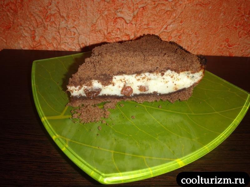 насыпной пирог с творогом в разрезе