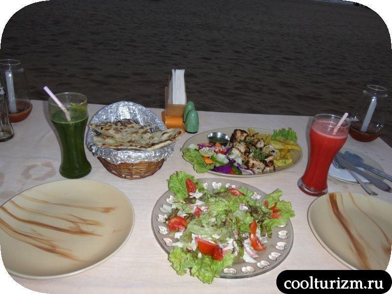 Южное ГОА. Цены на еду.щедрый ужин в южном Гоа.
