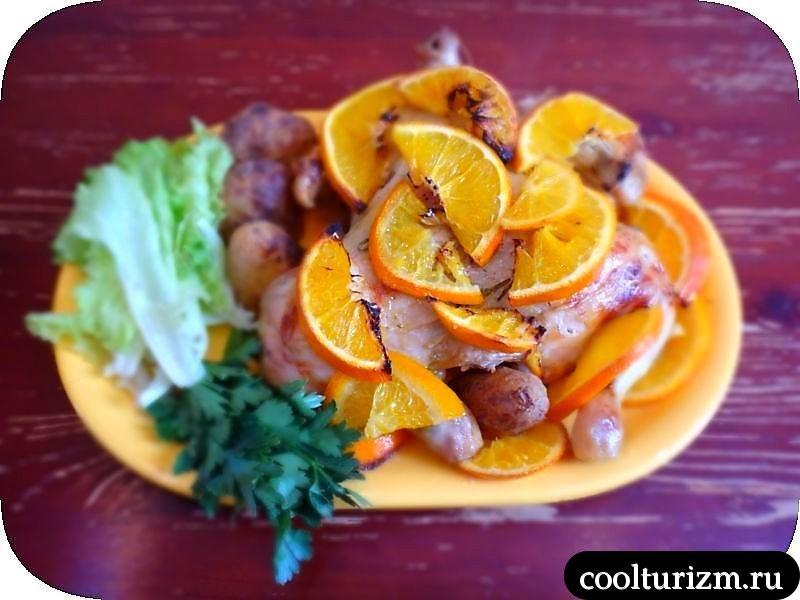 подача куры в апельсинах