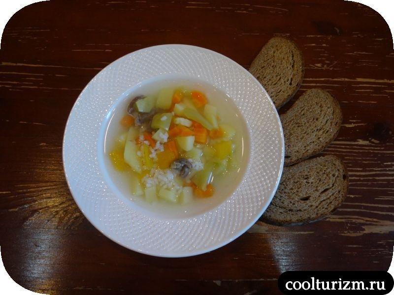 суп с куриными желудочками