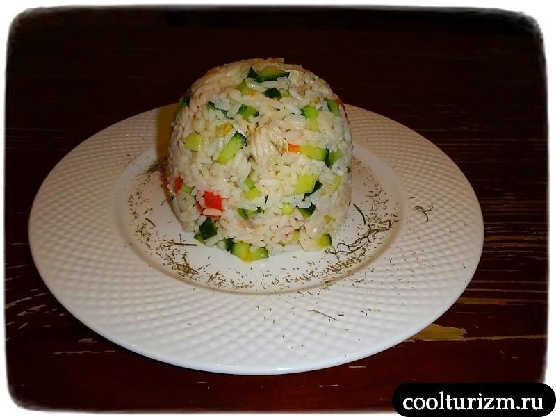 салат из риса и мяса побольше