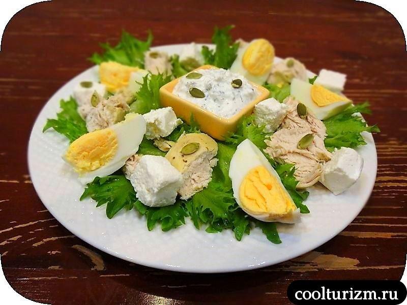 салат из курицы с творогом