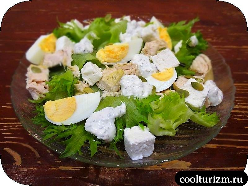 салат из курицы и творога