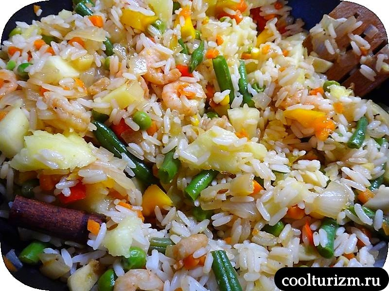 рис с креветками.тайская кухня