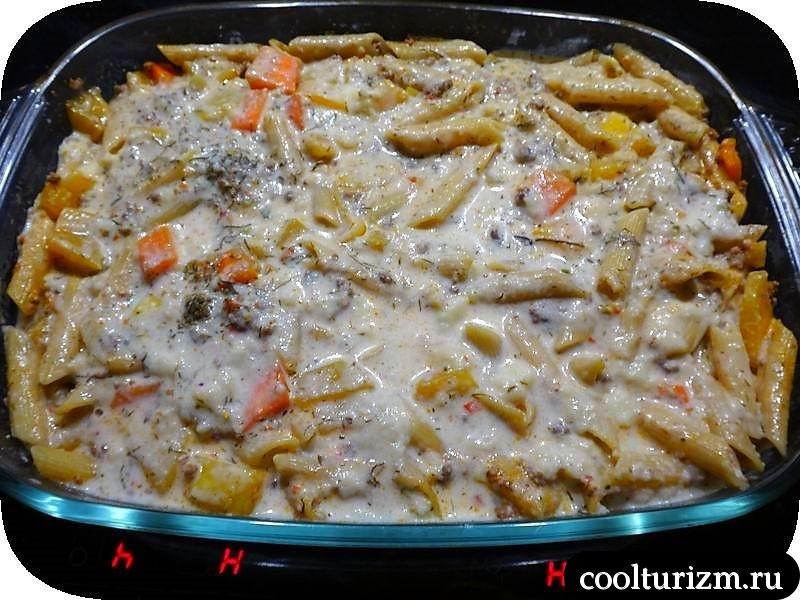 Запеканка с фаршем и макаронами в духовке