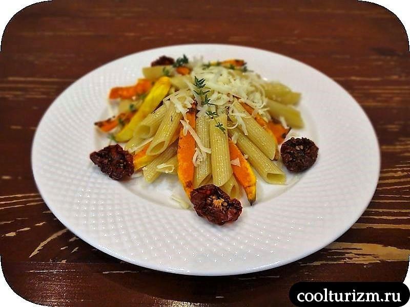 тёплый салат тыква и макароны