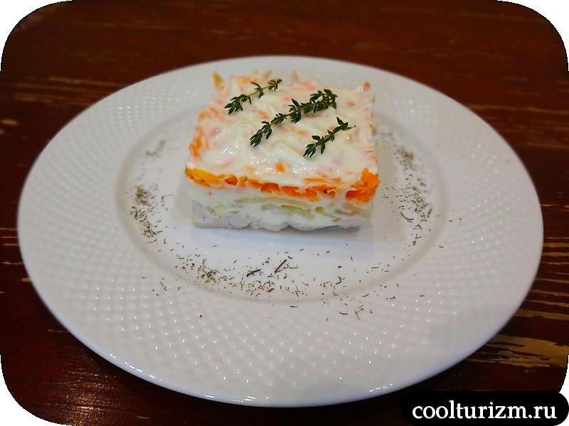 салат из трески и моркови в майонезе