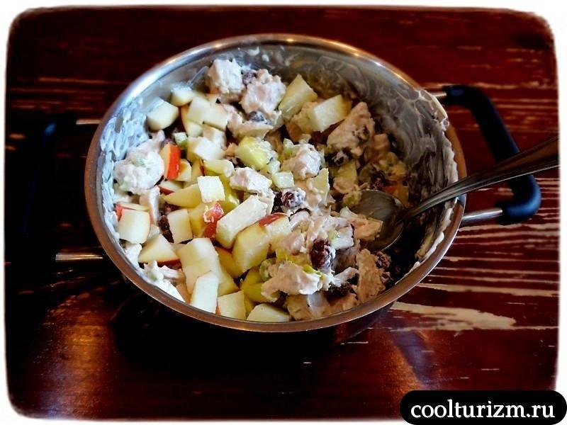 салат с куриной грудкой и яблоками как приготовить