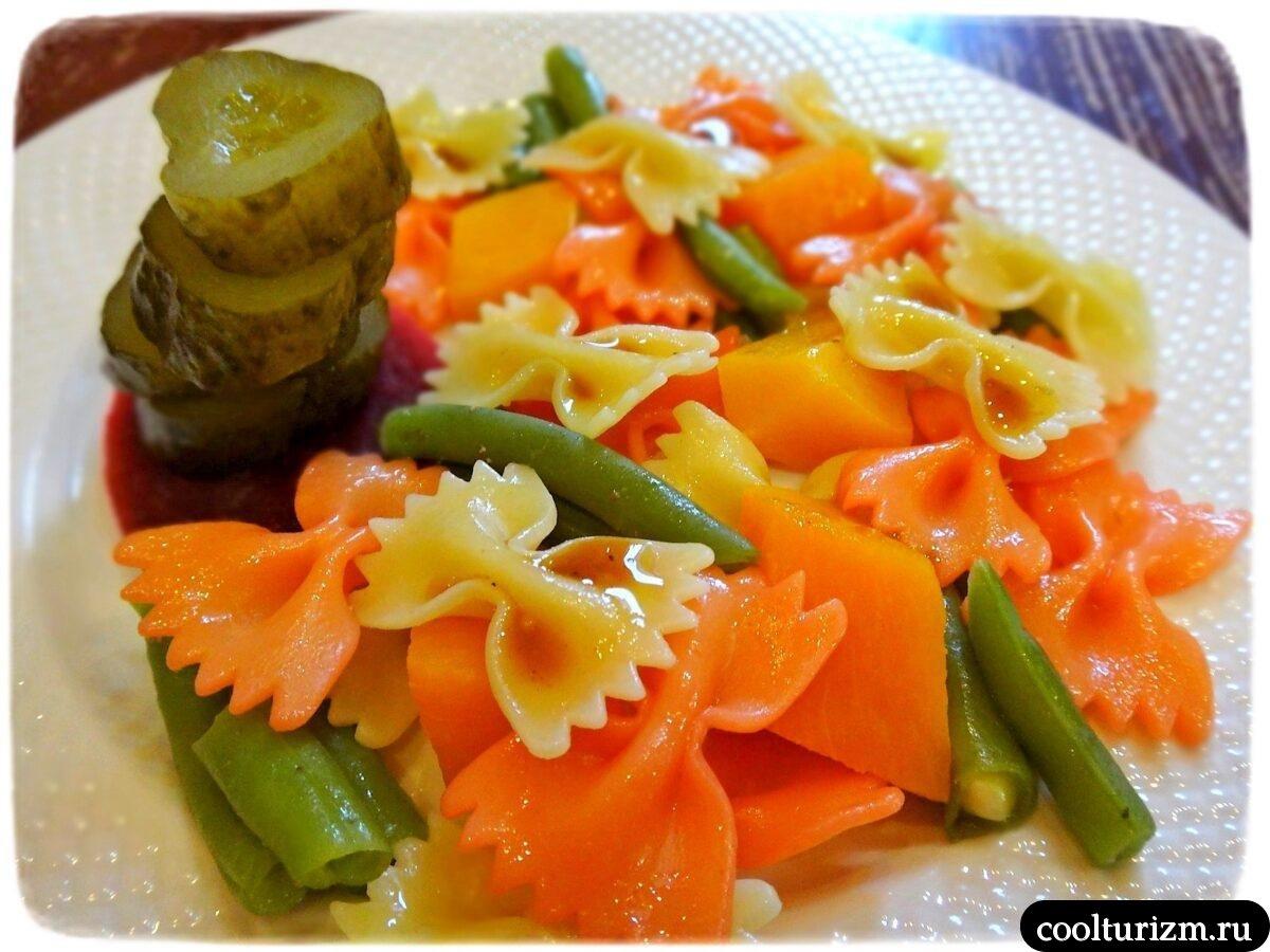 салат фарфалле с овощами