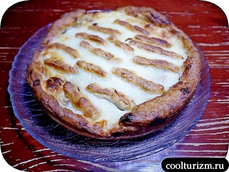 сметанный персиковый пирог
