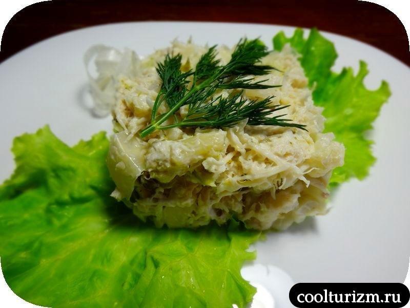салат с треской и капустой рецепт