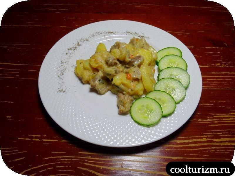 куриные желудки с картошкой и манкой