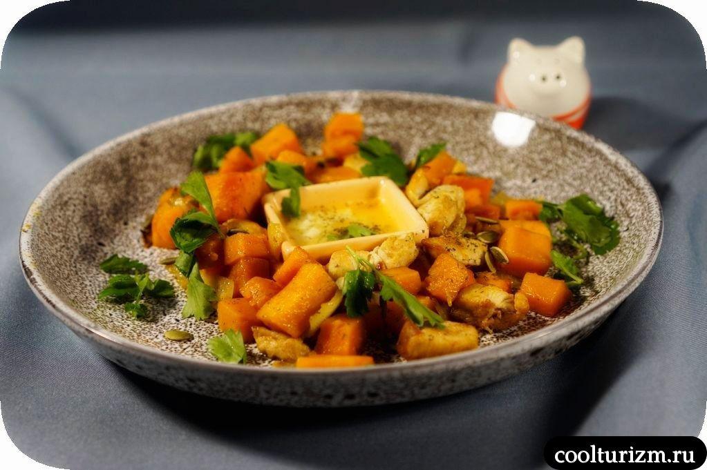 курица с тыквой в чесночном соусе
