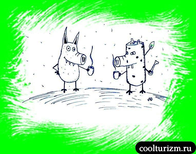 Свинни и Свиноккио пьют желудевый кофе