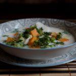 Белый суп из рыбы с тыквой