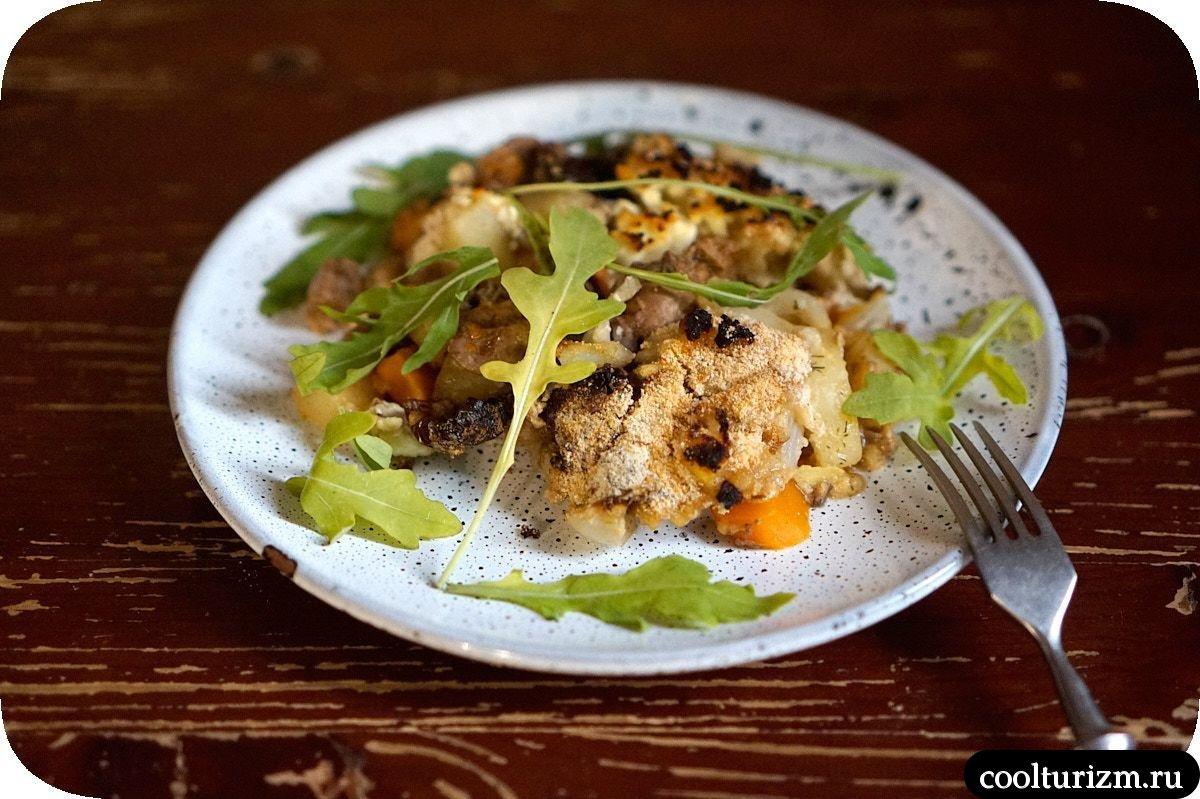 запеканка из печени с творогом и овощами