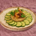 Перловка с мясом и овощами под сухарным соусом