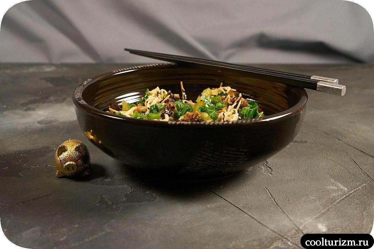 как приготовить яичную лапшу с грибами шиитаке