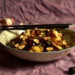 Бататовая лапша с рыбой и арахисом