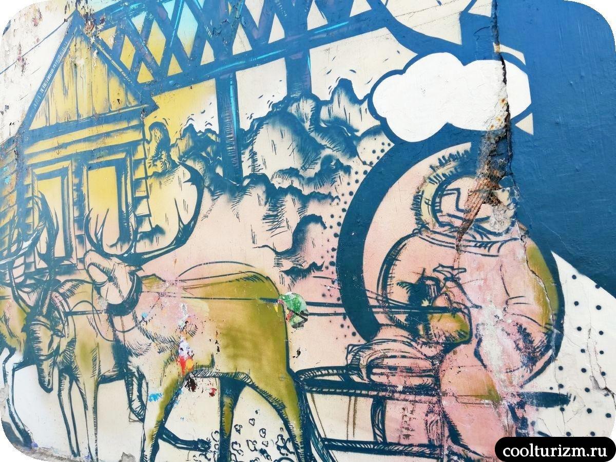 Граффити на улице Папанина в Мурманске