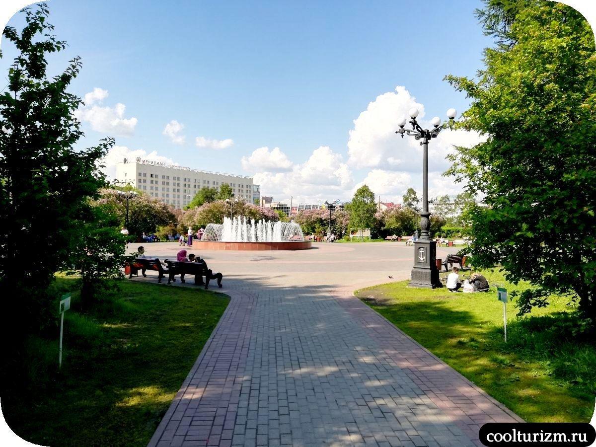 Центральный сквер Мурманск фонтаны
