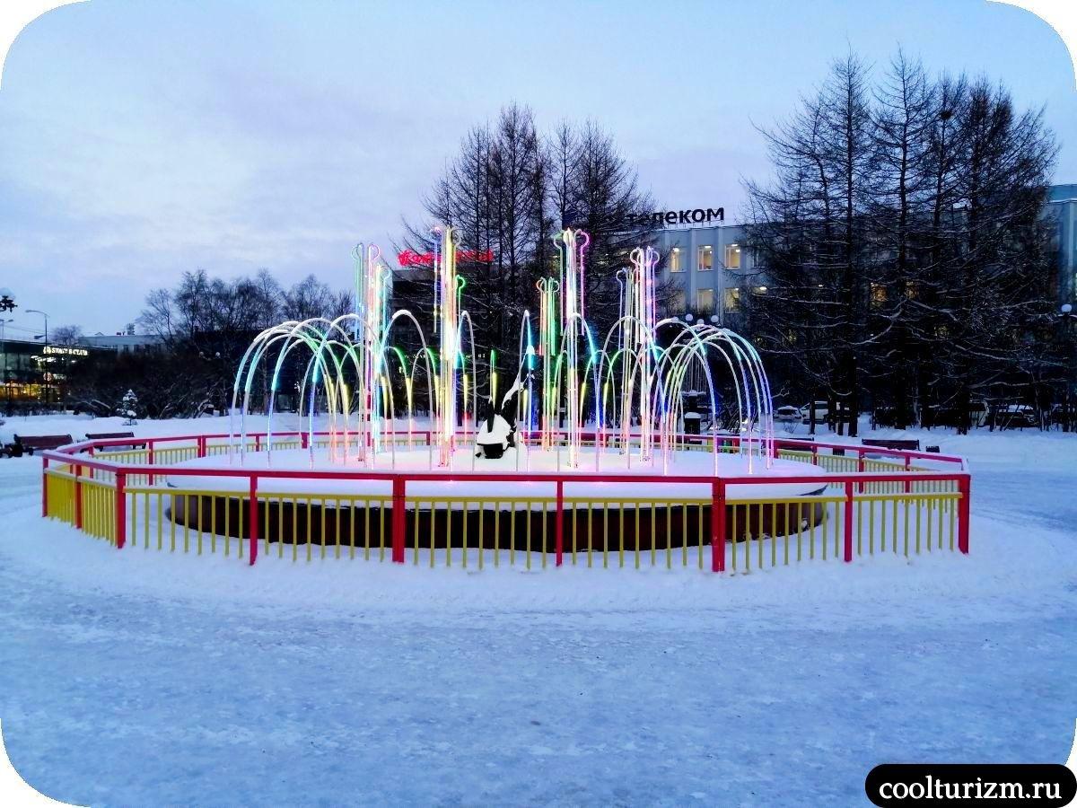 Центральный сквер Мурманск фонтан