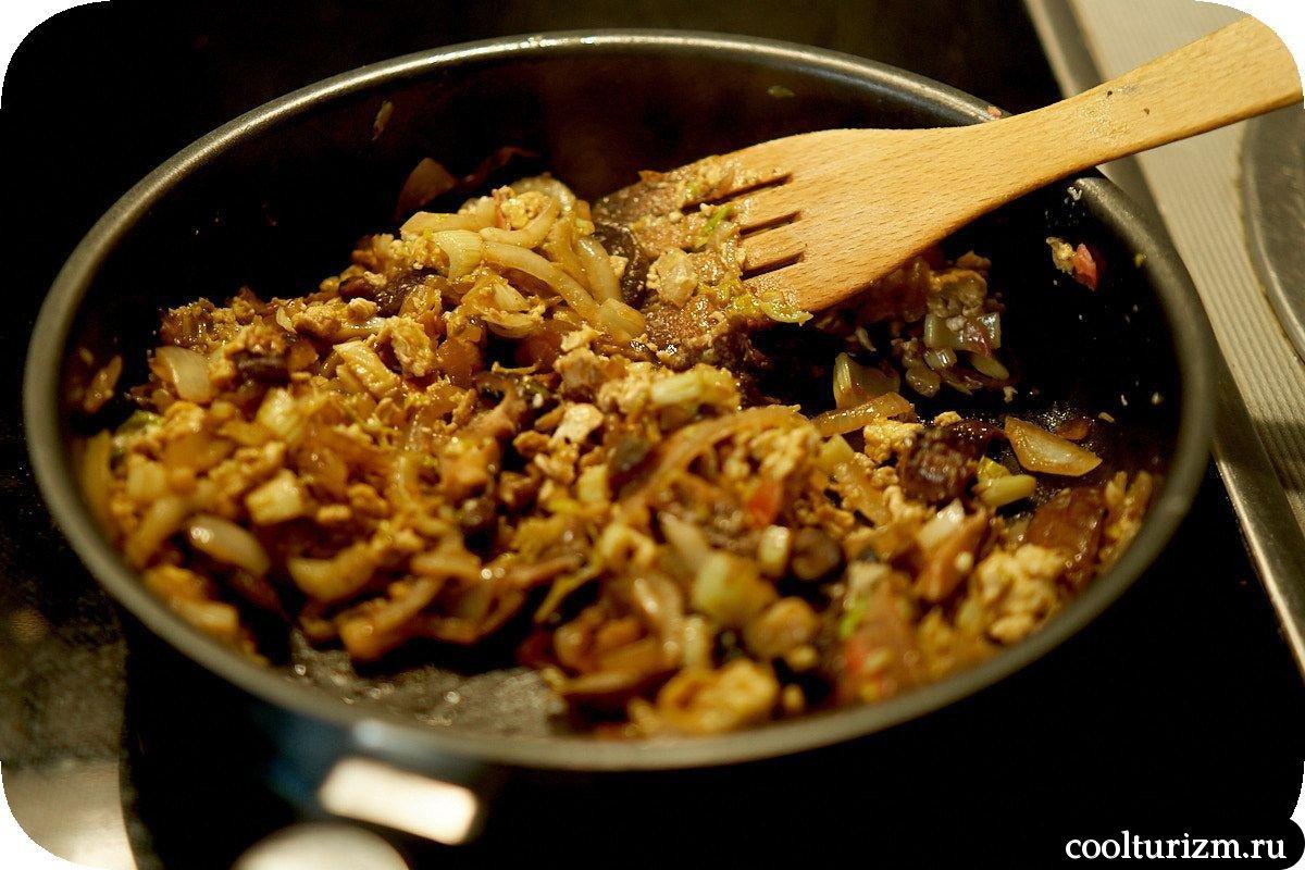 рис с яйцом и шиитаке
