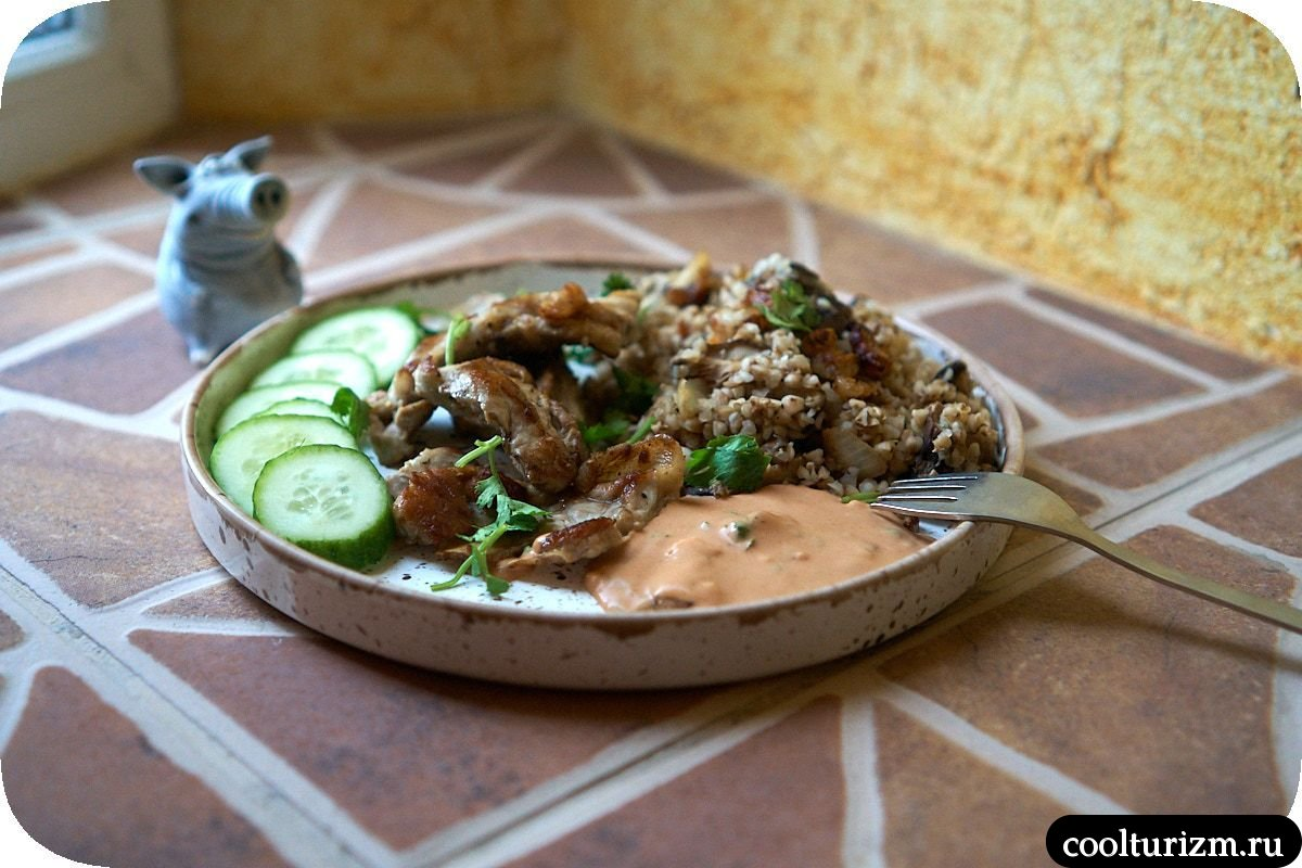 рецепт гречки с мясом, шиитаке и луком