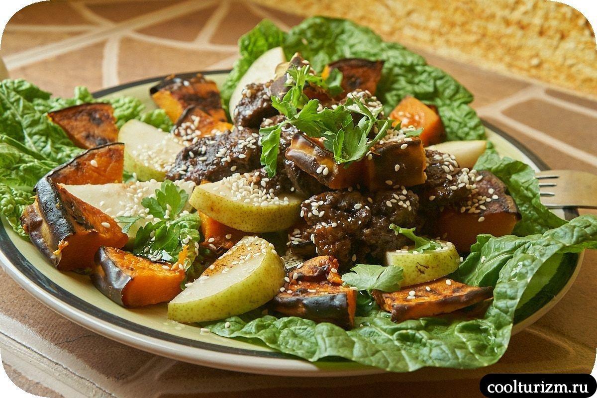 рецепт салата из куриной печени с грушей