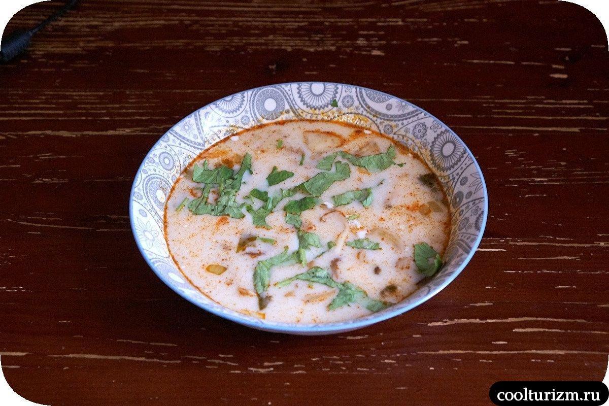 тайский суп том ям с кокосовым молоком