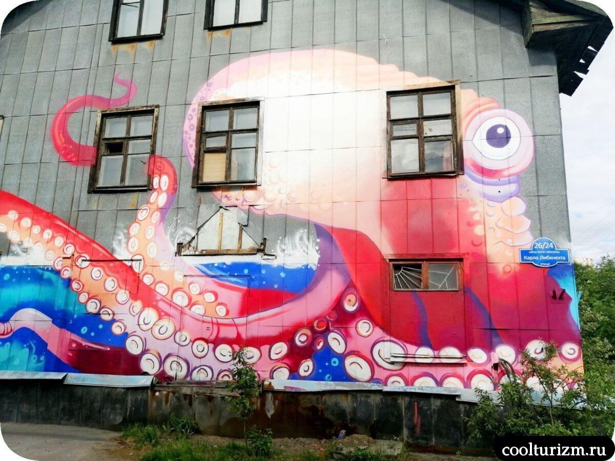 интересные достопримечательности Мурманска.Осьминог граффити