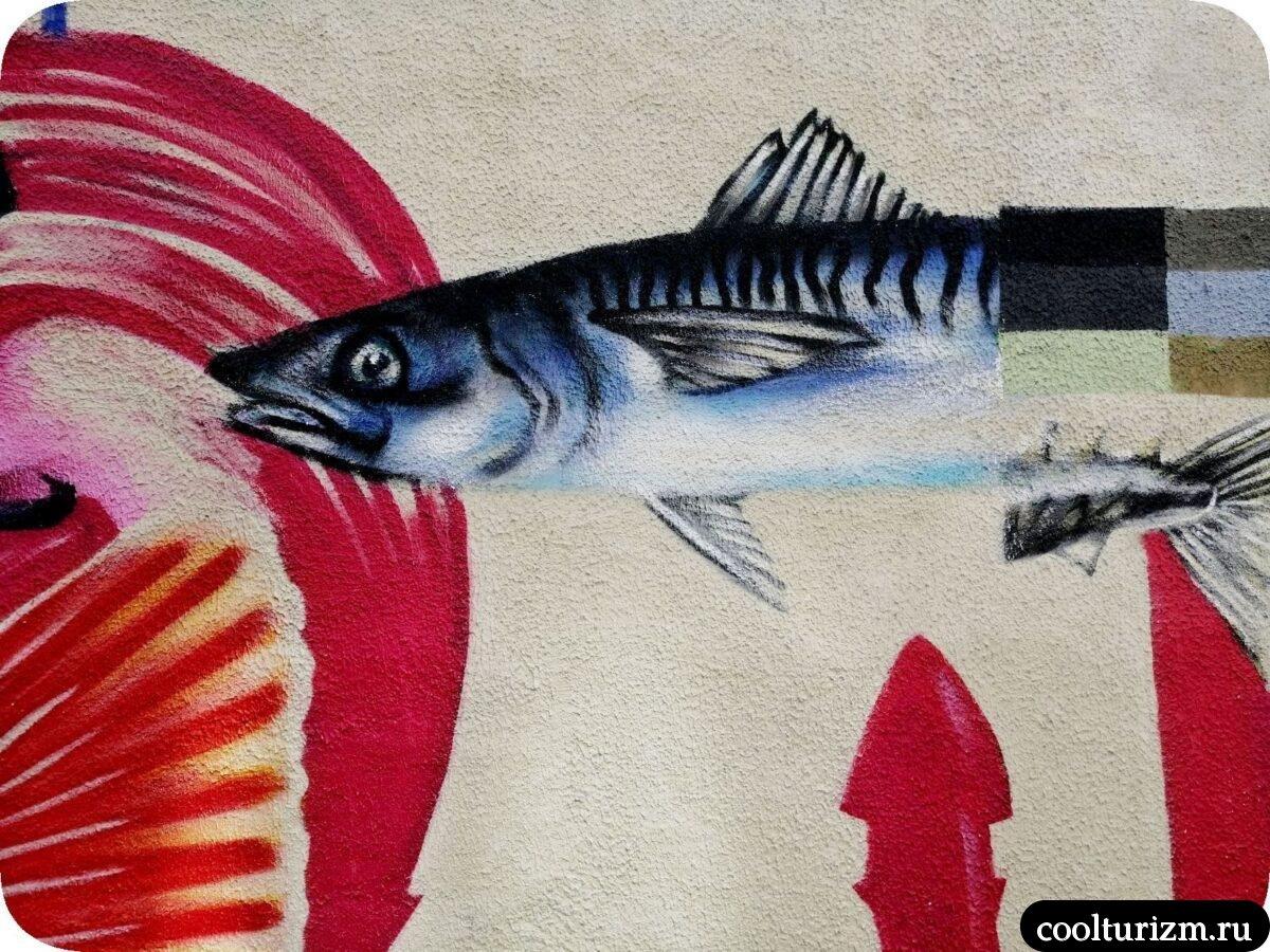 интересные достопримечательности Мурманска.Граффити морская тематика Мурманск