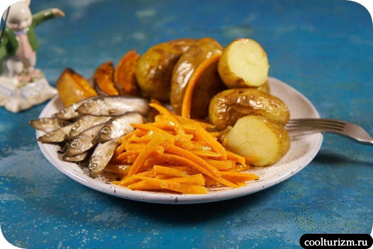 килька с картошкой и корейской морковью
