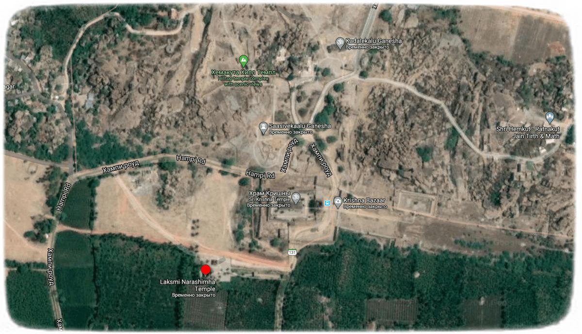 Лакшми Нарасимха храм в Хампи на карте