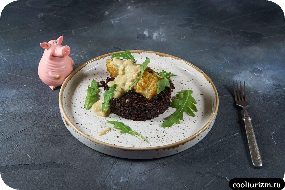черный рис с морским окунем рецепт с фото