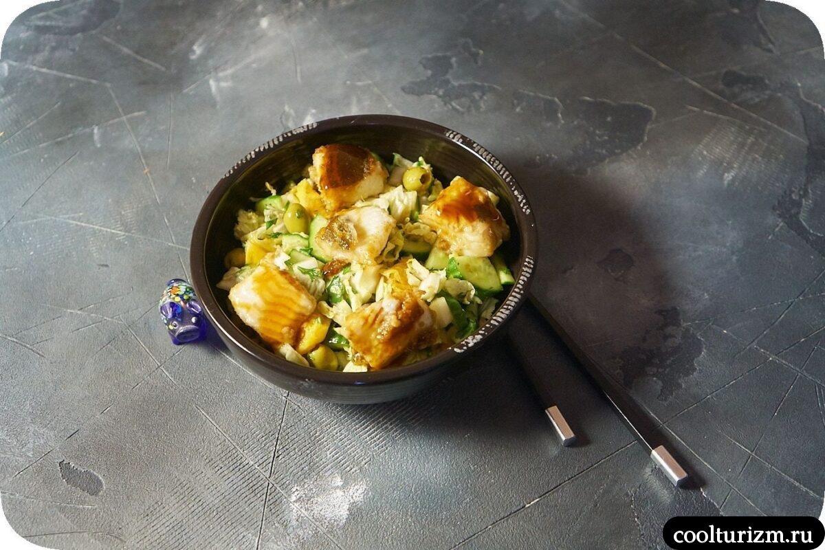 салат с мурманским палтусом и оливками в домашних условиях