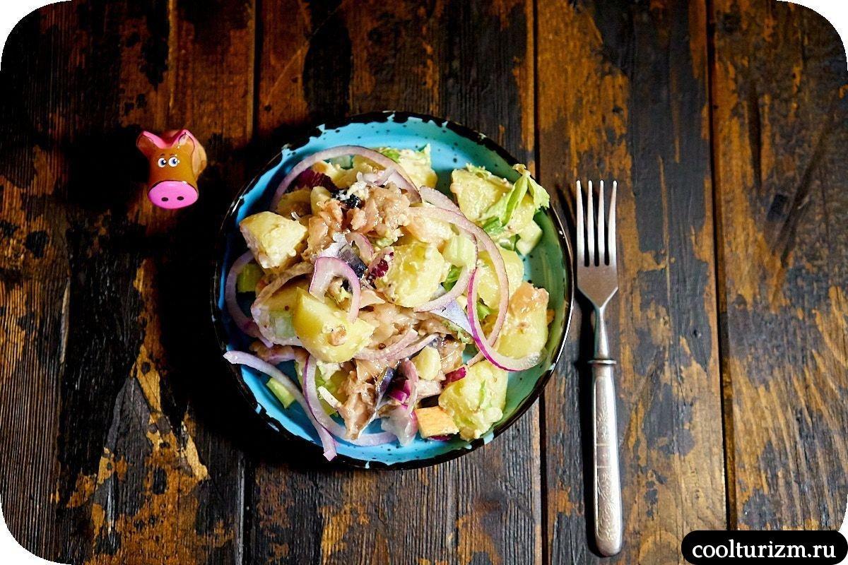 пошаговый рецепт салата с картофелем и скумбрией