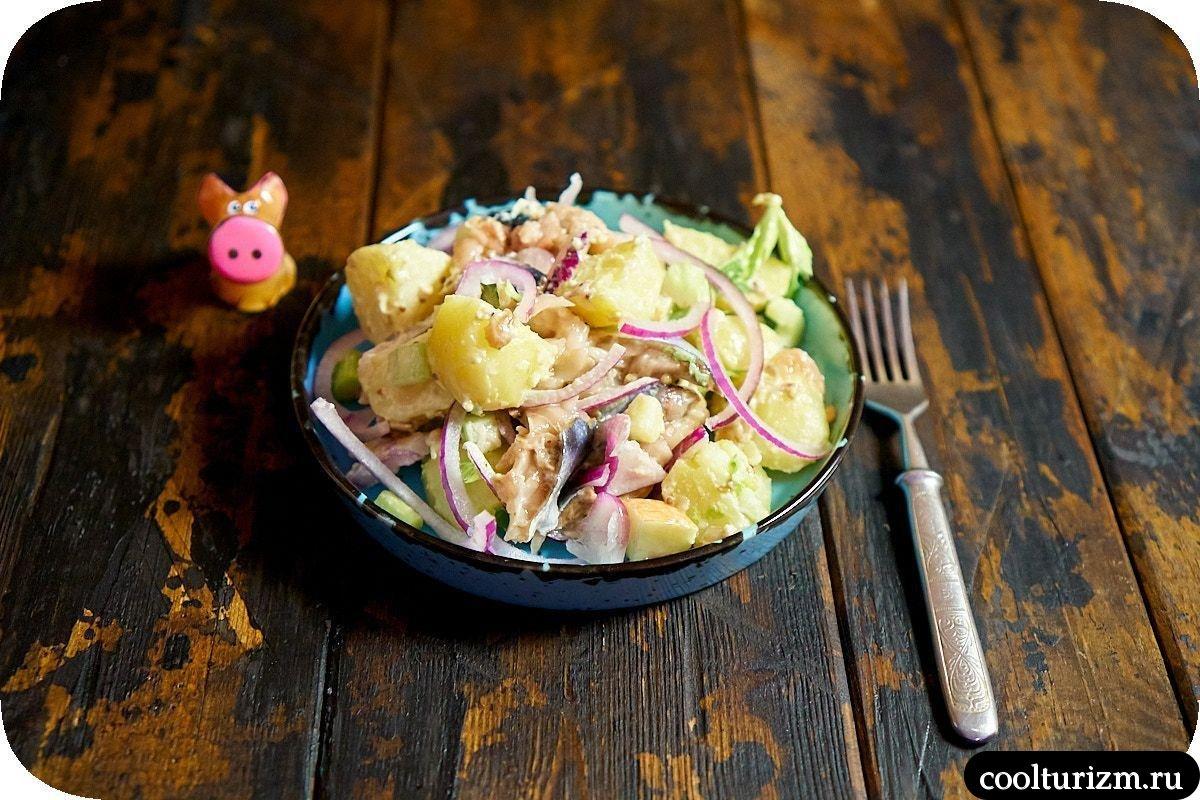 рецепт салата с картофелем и скумбрией простой