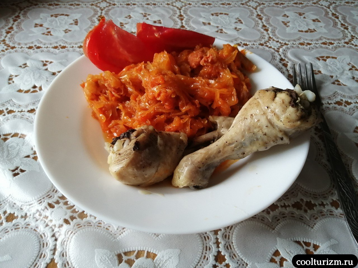 тушёная капуста рецепт с фото куриные голени
