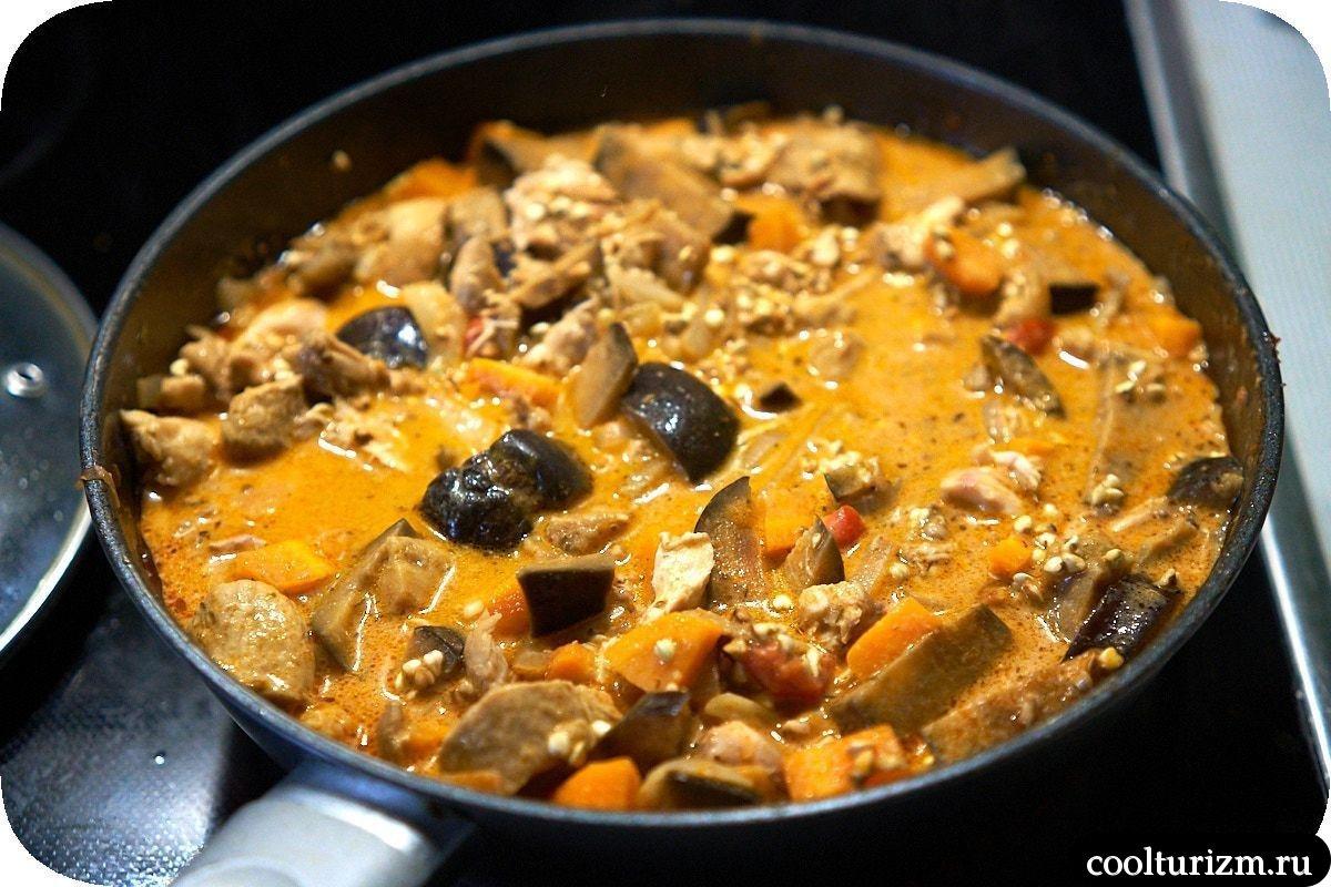 плов из гречки с баклажанами и мясом рецепт фото