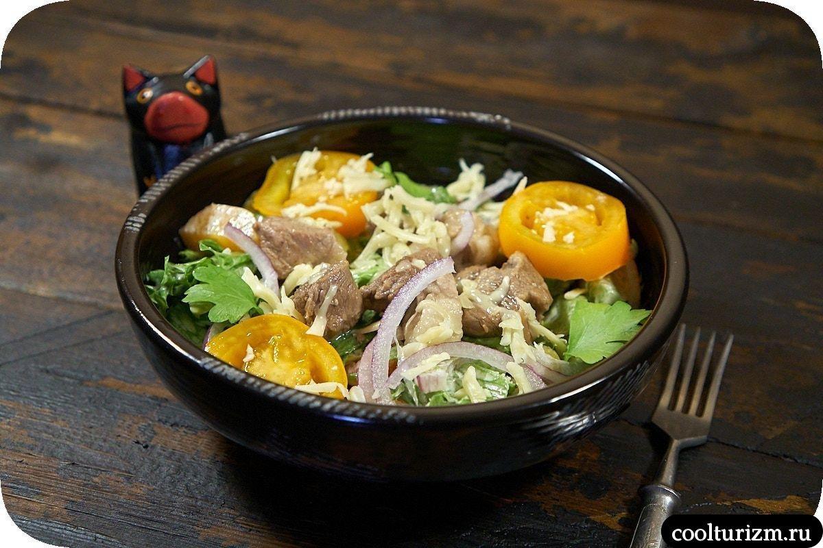 как приготовить мясной салат с оливками