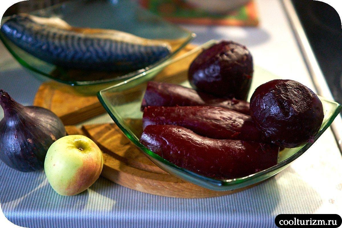 скумбрия со свеклой простой салат
