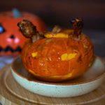 Страшная тыква с рисом и курицей. Блюда на Хэллоуин