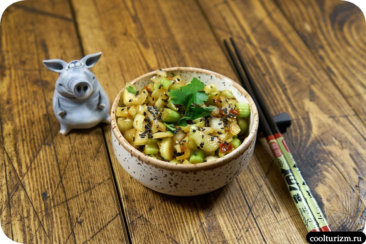 как приготовить салат со стеблем сельдерея в азиатском стиле